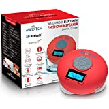 Bluetooth Speaker with LCD Display, NFC, FM Radio and Subwoofer Effect- Shower Speaker with Crystal Clear Sound and 3 Firm Suction Cups - Hands free speakerphone