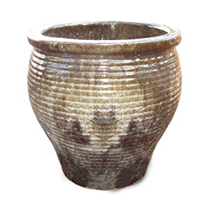 Medium Light Cappuccino Ribbed Planter