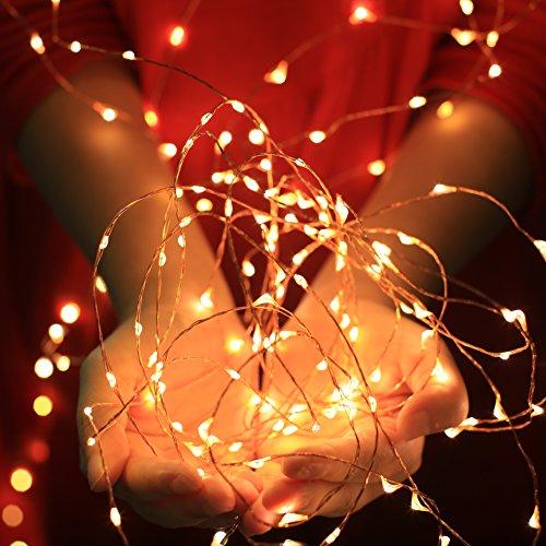 Fairy String Lights 20ft(6m) Starry String Lights 120 Leds Firefly Lights on Flexible Copper ...