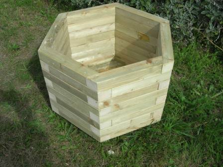 HEXAGONAL WOODEN PLANTERS X 2