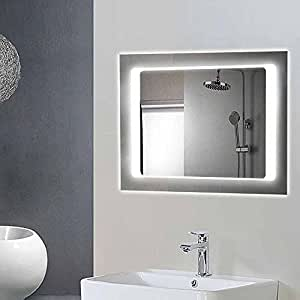 horizontal led lighted vanity bathroom silvered rectangle mirror make up mirror. Black Bedroom Furniture Sets. Home Design Ideas