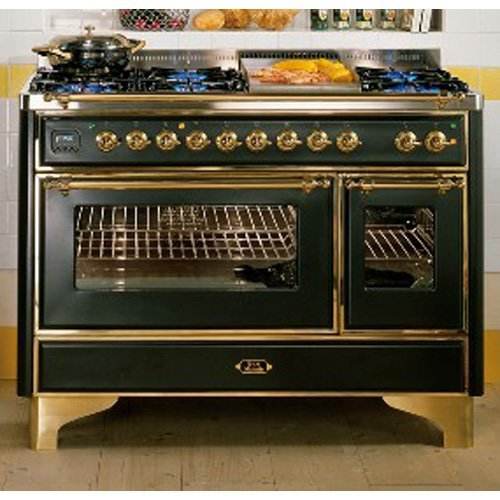 Ilve Um120S5Mpi Majestic Collection 48 Stainless Steel Dual Fuel Sealed Burner Double Oven Range - Convection front-38937