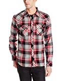 Dickies Men's Long Sleeve Brushed Flannel Plaid Western Shirt, Black, Large