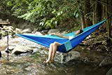 """FiveJoy Double Parachute Hammock (Blue/Teal) - 110"""" (L) X 75""""(W) - Up to 440lbs Weight Capacity - Hold Two Persons Comfortably and Safely"""