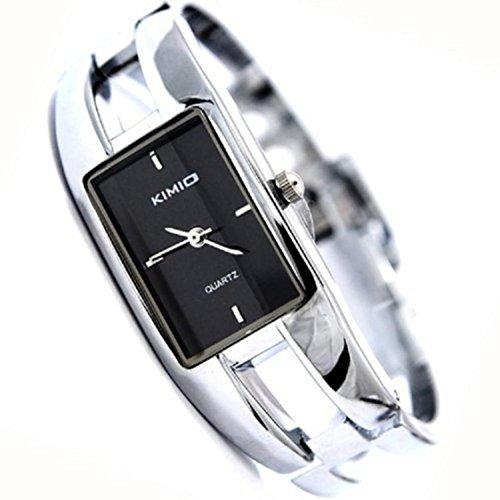 Womens Ladies Stainless Steel Black Dial Bracelet Wrist Watch Quartz