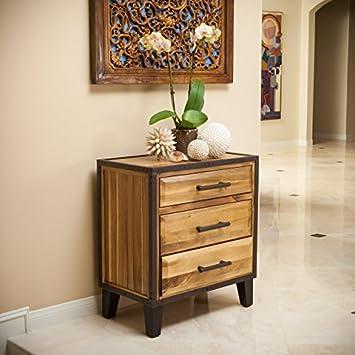 Glendora Natural Stain Solid Wood Three Drawer Dresser