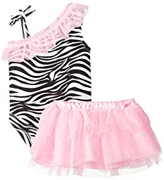 Baby Glam Baby-Girls Newborn 2 Piece Skirt Set with Poly Netting Ruffles, Cotton Candy/Black Soot, 3-6 Months