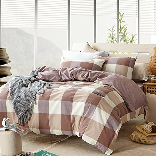 TheFit Paisley Textile Bedding for Adult U611 Brown Checkered Duvet Cover Set 100% Washed Cotton, Twin Queen King Set, 3-4 Pieces (Queen)