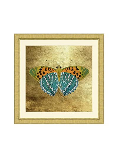 Art Source Butterfly with Real Gold Leaf Background III, Multi, 26 x 26