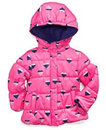 Carter\'s Girls Hearts Puffer Jacket Coat (2t, Hot Pink)