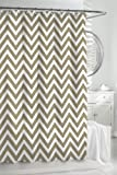 Kassatex Cortina Linen / Taupe & White Classic Chevron Fabric Shower Curtain