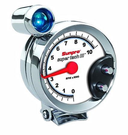 Sunpro-CP7914-Super-Tach-III-5-Chrome-Bezel/White-Face-Tachometer-with-Shift-Light