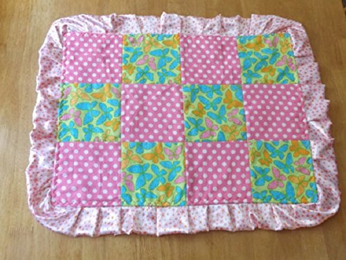 Butterflies with Satin Toddler Quilt with Ruffle, Security Blanket - Lovey - Carseat, Stroller, Travel Soother - Satin Baby Blanket