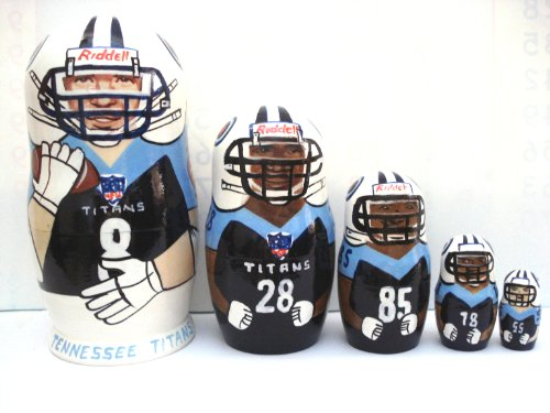 Tennessee Titans NFL Football or any team Russian Nesting doll 5 pcs / 6 in