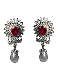 Affinity Gorgeous CZ Studded Earings With Beautiful Red Stone And Pearl Drop