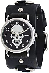 Nemesis #FRB921K Men's Black Death Skull Dial Wide Leather Ring Cuff Band Watch