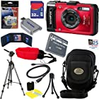 Olympus Stylus Tough TG-2 iHS 12 MP Waterproof Digital Camera with 4x Optical Zoom (Red) + LI-90B Battery + 10pc Bundle 32GB Deluxe Accessory Kit