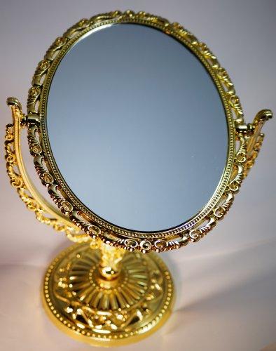 3倍拡大鏡付 両面 スタンドミラー 金色