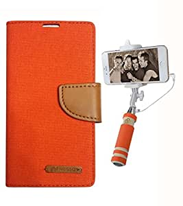 Aart Fancy Wallet Dairy Jeans Flip Case Cover for LenovoA-6000 (Orange) + Mini Fashionable Selfie Stick Compatible for all Mobiles Phones By Aart Store