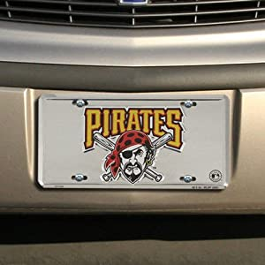 Pittsburgh Pirates Super Stock metal auto tag mirror background