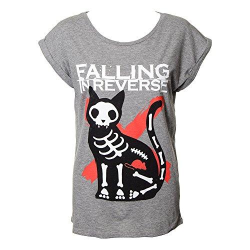 T Shirt Elasticizzata Cat & Mouse Falling In Reverse (Grigio) - Large