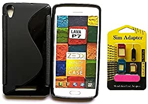 Free Metal Sim Adaptor With Wellmart Anti-Skid Soft TPU Back Case Cover for Lava P7