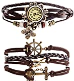 Belle(TM) Strap Butterfly Beads Leather Bracelet Wrist Watch Dark Brown + Girls Charms Leather Weave +Bag thumbnail