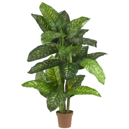 Nearly Natural 6573 Dieffenbachia Silk Plant Real Touch, 5-Feet, Green