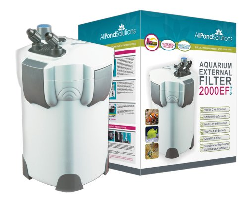 Aquarium External Fish Tank Filter 2000L/H + 9W UV Light Free Filter Media All Pond Solutions 2000EF+