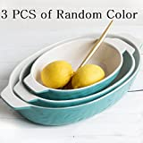 Baking Dishes, Krokori Roasting Pan Ceramic Glaze Bakeware Set for Cooking, Kitchen, Cake Dinner, Banquet and Daily Use - (Random Color, Oval of 3-Pieces)
