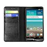 iVAPO Business Luxury Genuine Leather Wallet Design & Stand Function Soft Cover Case for LG G3 (MM453) (Black)
