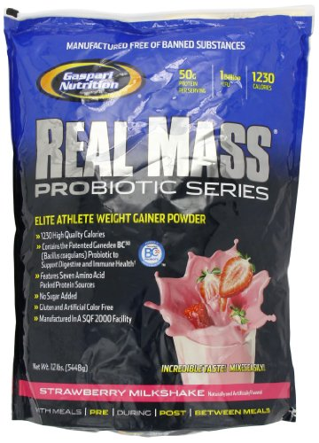 Gaspari Nutrition Real Mass Probiotic Series Strawberry Weight Gain Powder Milkshake 5.4kg