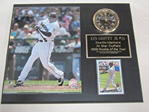 Ken Griffey Jr Seattle Mariners Collectors Clock Plaque w 8x10 Photo and Card by J & C Baseball Clubhouse