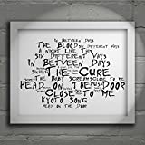 `Noir Paranoiac` Art Print - THE CURE - The Head on the Door - Signed & Numbered Limited Edition Typography Wall Art Print - Song Lyrics Mini Poster