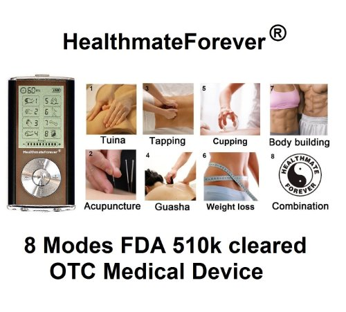Fda Cleared Healthmateforever 8 Modes Hand Free Digital Pain Relief Mini Micro Massager, Therapy Machine Device Unit+ $20 Value 4 Pads Healthmate Forever Hm8G Black Color Lifetime Warranty