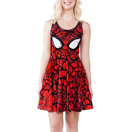 JNTworld Summer Women Spider-Man Sleeveless Printing Pleated Skater Dress, L, Red