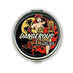Dangerous Curves Pin Up Compact Mirror Travel Make Up Accessory