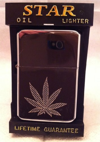 Hash Leaf Engraved Polished Chrome Lighter No 30 can be personalised engraved free of charge