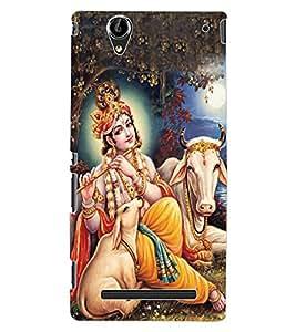 ColourCraft Lord Krishna Design Back Case Cover for SONY XPERIA T2 ULTRA