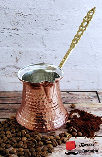Handmade Turkish Coffee Pot, %100 Solid Copper and Brass Handle Turkish Copper Pot (S 2 Cups 155ml / 5.2oz)