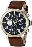 Cool Hilfiger Hommes Tommy 1791137 Sport à deux tons en acier inoxydable avec bracelet en cuir