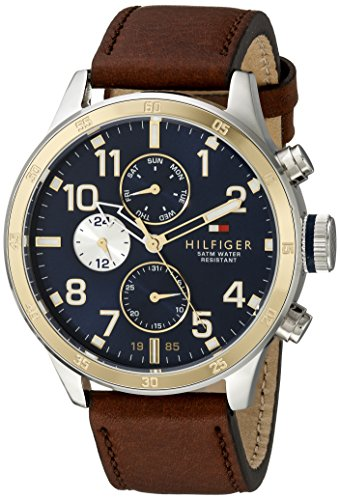 Tommy Hilfiger Men's 1791137 Cool Sport Two-Tone Stainless Steel Watch with Leather Band - 51Hg5Vv tLL - Tommy Hilfiger Men's 1791137 Cool Sport Two-Tone Stainless Steel Watch with Leather Band