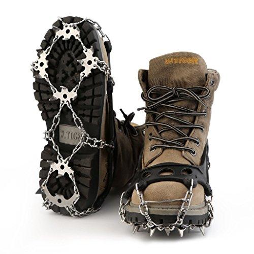 OUTAD Ramponi in Acciaio Inox con 18 Punte, Ramponi da ghiaccio, Ramponi da Neve 18 Punte, (S (28- 33))