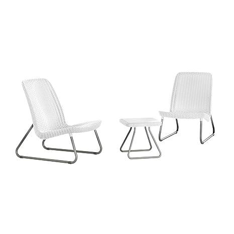 Keter 17197637 Lounge Set Rio, Rattanoptik, Kunststoff, weiß