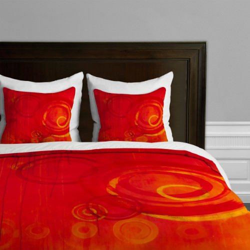 Deny Designs Stacey Schultz Circle World Red Duvet Cover, King front-925720