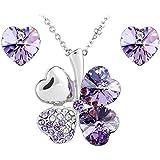 Le Premium® Schmuck-Set vier Blättern Klee Halskette+ohrring Gestüt Herz geformt Swarovski violett lila Kristalle