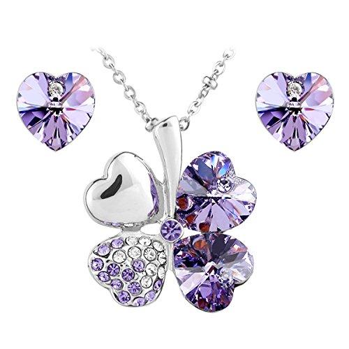 Le Premium® Parure placcata oro bianco collana trifoglio e orecchini cuore coordinati, con cristalli Swarovski Elements Viola