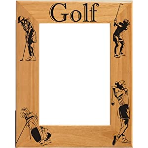 Laser Engraved Wood Female Golf Picture / Photo Frame