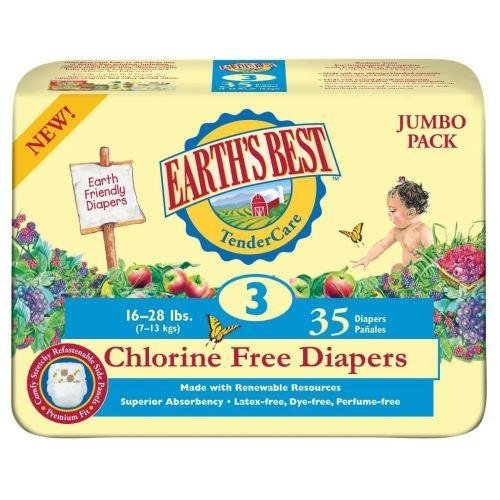 Earth's Best TenderCare Chlorine Free Diapers, Size 3 (16-28 Pounds), 140 Count