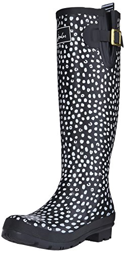 Joules Women's Wellyprint Rain Shoe, Black Spot White, 8 M US (Knee High Rain Boots For Women compare prices)